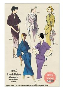 1950-039-s-Wiggle-Suits-Vintage-French-Sewing-Pattern-Copy