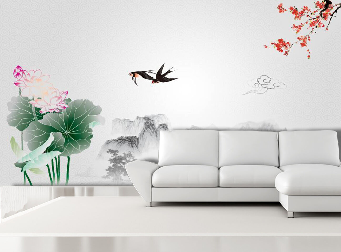 3D Flowers Flying Birds 2512 Paper Wall Print Wall Decal Wall Deco Indoor Murals