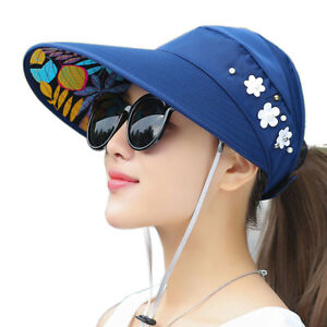 Womens UV Protection Sun Sports Hat Visor Cap Packable Wide Brim Hat ... c6321406c418