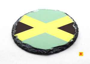 Jamaica-Flag-Round-Slate-Coaster-with-Natural-Edge