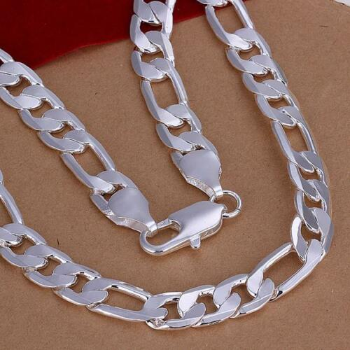 Cool 925Sterling Silver 12MM Flat 3 Space 1 Men Chain Bracelet Necklace Set S086