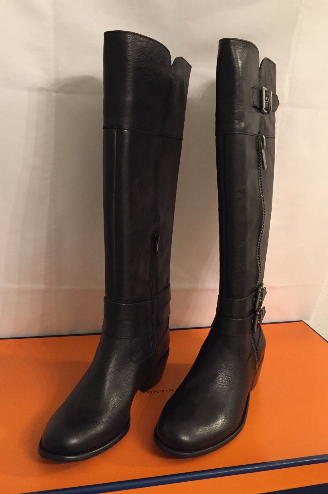 Arturo Chiang Black Tall Fashion Leather Boots (At-Benni) Size 6.5M