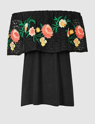 New M/&S Autograph Black Jacquard Floral Boxy Top Sz UK 10 12 14