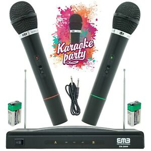 Wireless-Microphone-Dual-Handheld-2-x-Mic-Cordless-Receiver-for-Church-Karaoke