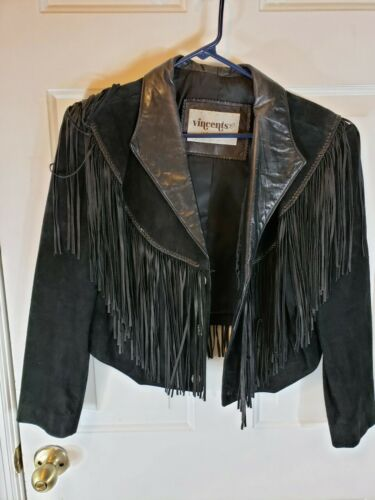 Vincents indianBlack Leather Bikers  Jacket Crop S