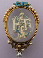 Victorian 15k 15ct Gold & Pearl Enamel Essex Crystal Brooch Pin C1850