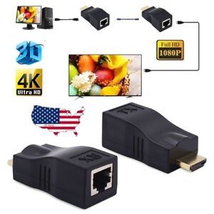 4K-1080P-3D-HDMI-Extender-to-RJ45-Over-Cat-5e-6-Network-LAN-Ethernet-Adapter-30M