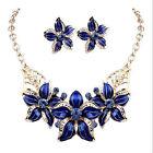 Women Fashion Wedding Jewelry Set Pearls Flower Crystal Necklace Earrings Party
