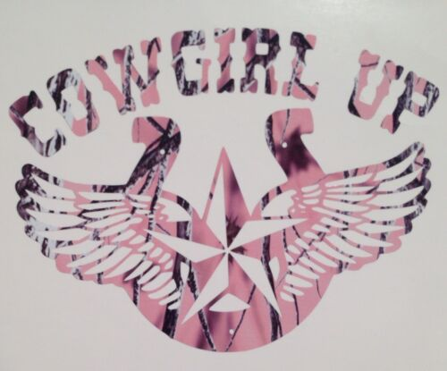 """New Pink Camo Cowgirl Up Horseshoe Country Girl Truck Vinyl Decal 5/"""" Rodeo Hunt"""