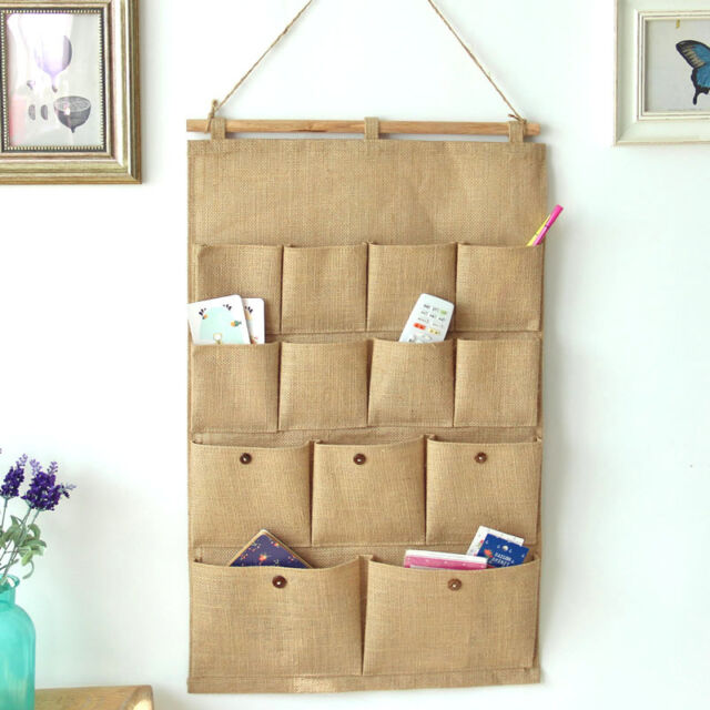 13 Pocket Wall Door Closet Hanging Storage Bag Organizer Linen Cotton Fabric
