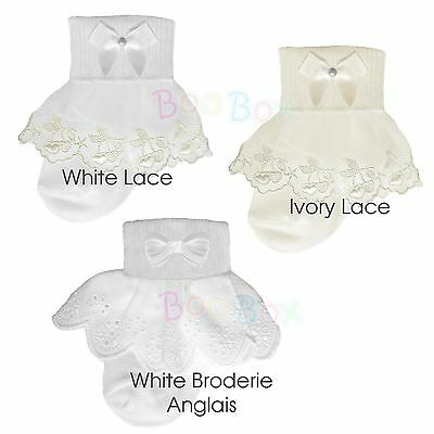 Pex Baby Girls 2 Pack White Lace Frilly Ankle Socks Christening 0-6 Years