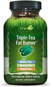 Irwin Naturals TRIPLE-TEA White Green Black Tea FAT BURNER 75 SoftGels Exp 09/20