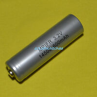 1X LiFePO4 LFP IFR 14500 3.2V 600mAh AA size battery rechargeable consumer type