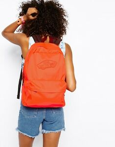NEW VANS Realm Backpack Book Bag Neon Coral Pink Orange (Red) | eBay