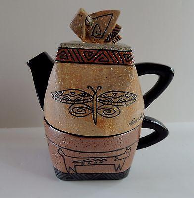 Laurel Burch Teapot Signed 3 pc Cup Combo Southwest Aztec Ceramic Dragonfly Fish