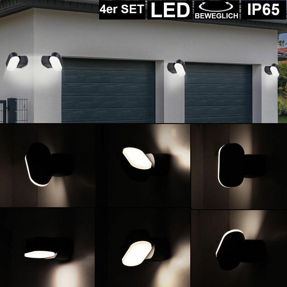 4x LED Außen Bereich Wand Lampen Balkon Hof ALU Strahler Leuchten schwenkbar