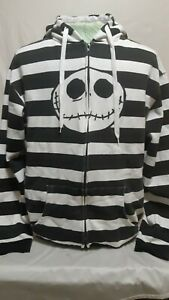 Nightmare-before-Christmas-Black-And-White-Striped-Hoodie-Sweater-Mens-Size-XL