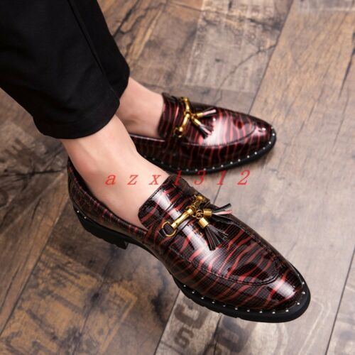 Men Round Toe Slip On Casual Shoe Loafer Flat Gommin Tassel British Dress Club