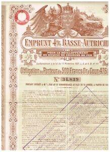 Niederöst....für Eisenbahnzwecke, Wien 1911, 500 Gold Francs, gelocht, deko, VF