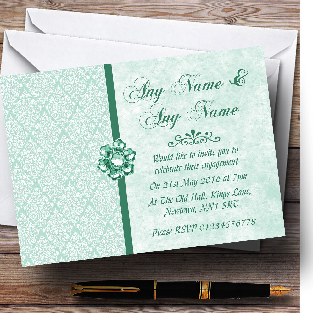 Pale Mint Grün Vintage Damask Jewel Personalised Engagement Party Invitations