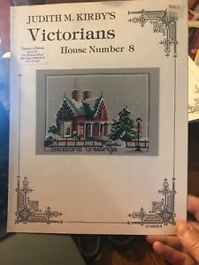 Judith-Kirby-VICTORIANS-HOUSE-NUMBER-8-Cross-Stitch-Pattern-Red-Winter-Retired