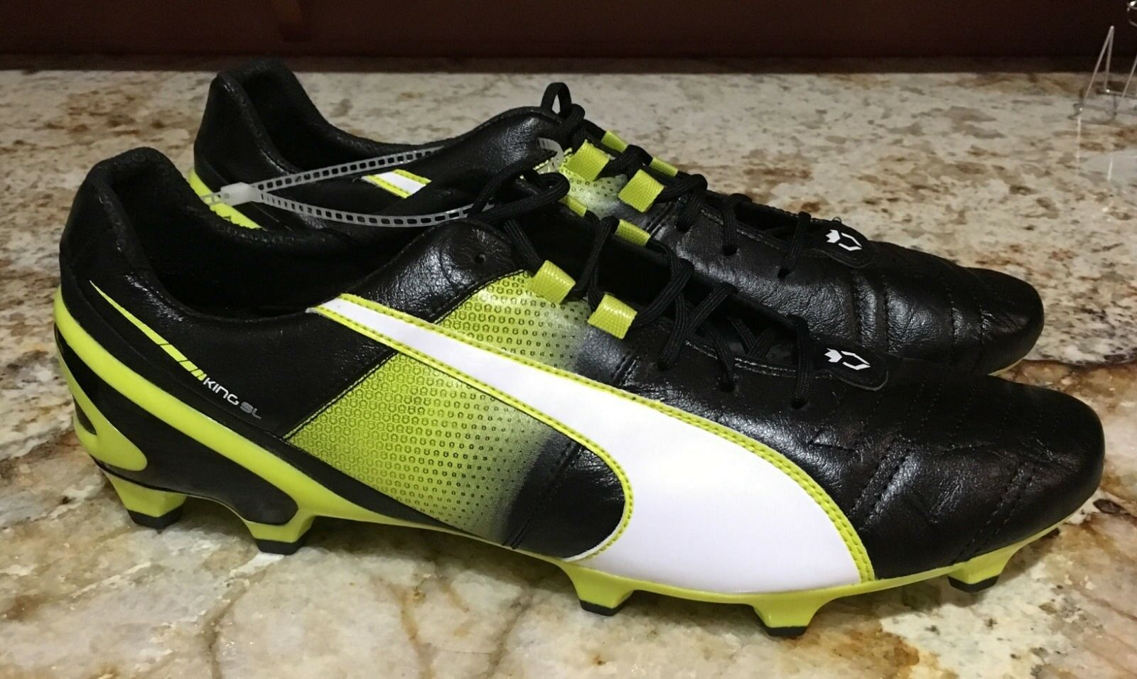 PUMA King II Superlight FG Black White Yellow Leather Soccer Cleats NEW Mens 12