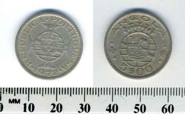 Angola 1972 - 5 Escudos Copper-Nickel Coin - Portuguese Colony