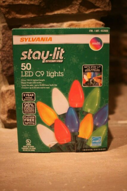 New Sylvania Stay Lit 50 Count Led C9 Lights Multi Color Christmas Lights