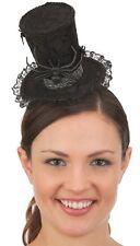 Black Spider Mini Top Hat Mad Hatter Headband Widow Lace Webs Halloween Prop