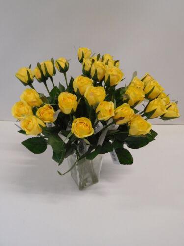 36 x Rose Edelrose 36tlg Set Seidenblume Kunstblume 43 cm gelb 11739-2 F7