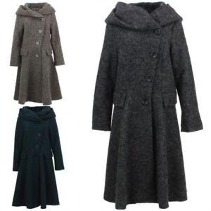 Damen Wolle Wintermantel Jacke Bohème Schweden Gewoben Wool Rich
