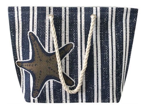 Nautical Striped Canvas Tote Beach Shoulder Bag Grocery Pool Purse Starfish Navy