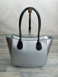 Italian Designer Women s Handbag Shoulder Bag Genuine Leather Silver ... 8e35e0cef4f34