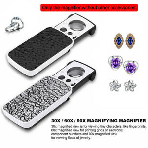 LED Magnifying Glass 30X 60X 90X 3 Lens UV Light Loupe Magnifier Loop Jewelry