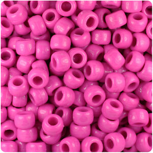 500 Pink Transparent 9x6mm Barrel Pony Beads USA Made by The Beadery