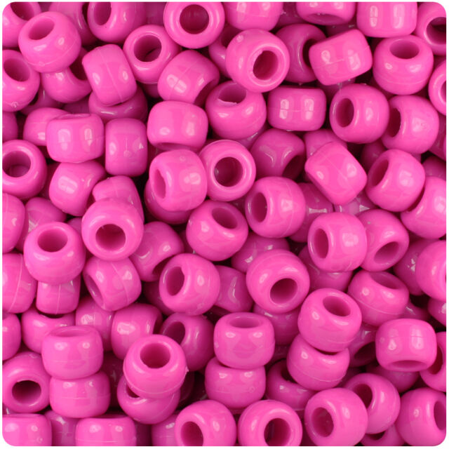 Hot 500 Dark Pink Opaque 9x6mm Barrel Pony Beads USA Made by The Beadery