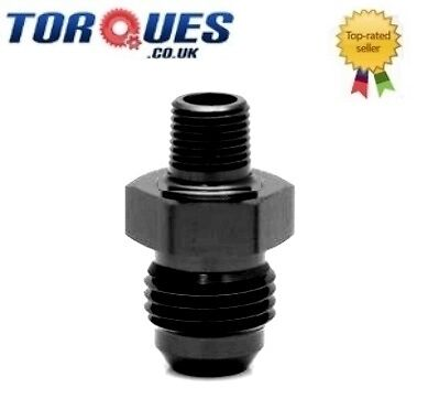 "AN -8 (AN8 AN 08) to 1/8"" NPT Straight Adapter Black"