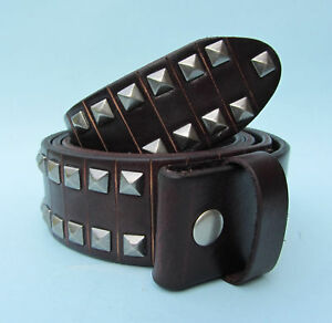 Snap on Leather Belt Pyramid Studs Brown