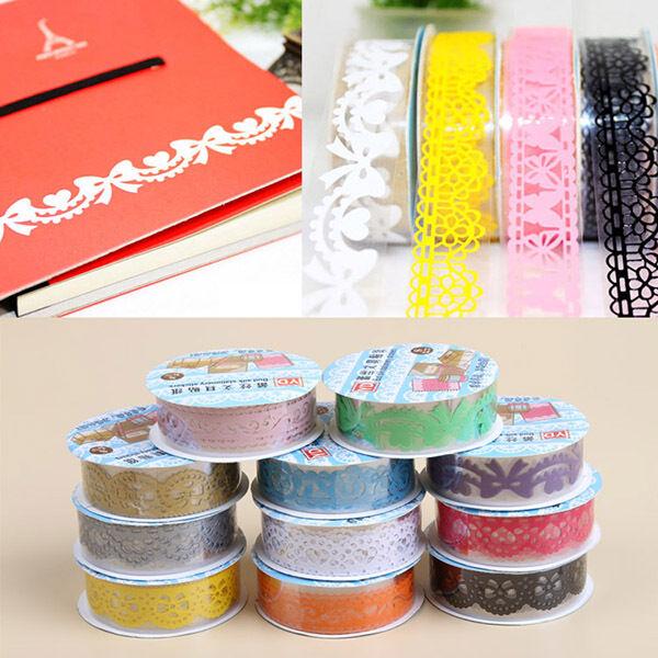 10 PCS Decorative Lace Roll Washi Sticky Paper Masking Adhesive Tape Crafts DIY