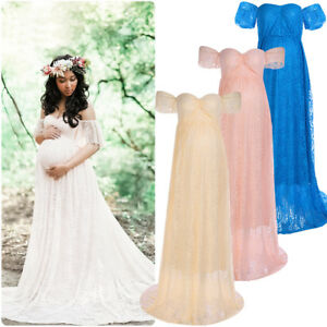 f8f6e8cb163b Image is loading Off-Shoulder-Lace-Maternity-Dress-Baby-Shower-Photography-