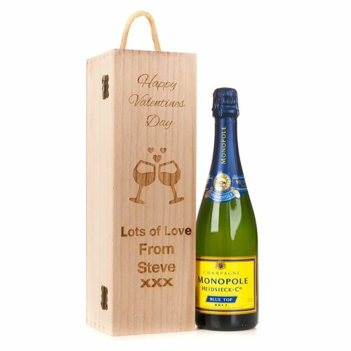 Personalised Engraved Wooden Valentines Day Wine Gift Box Champagne Prosecco