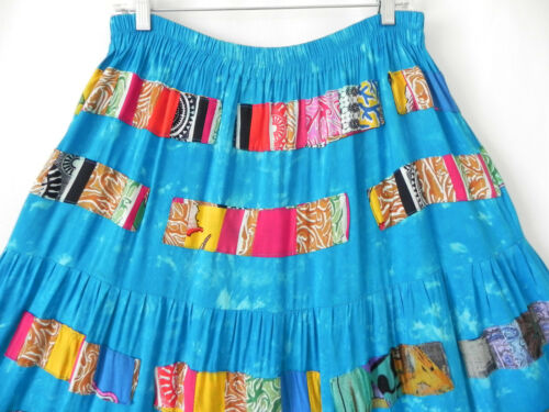 Taglia Patching Swing Tiered Nativewear Skirt maxi Rayon Vest M 2pc Design's q06w64fz