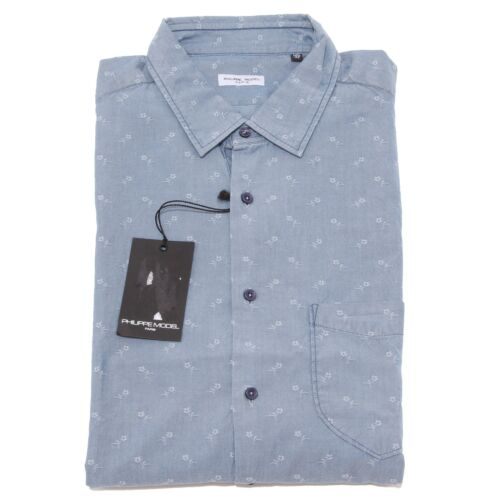 Camicie 8377p Uomo Philippe Camicia Denim Manica Shirt Model Men Lunga UYFq7f