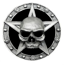 Skull Belt Buckle Repent Skeleton Pentagram 3D Heavy Gothic Authentic Pagan