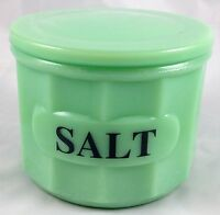 Jadite Green Glass Round Panel Pattern Salt Storage Box Jadeite Canister & Lid