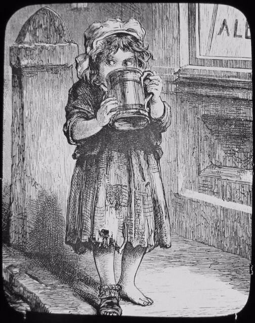 Glass Magic Lantern Slide FIRST DROP - LOW LIFE C1890 DRAWING GIRL DRINKING BEER