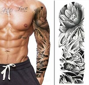 Tatouage Ephemere Homme Femme Bras Faux Tattoo Temporaire Sleeve B W Flowers Ebay