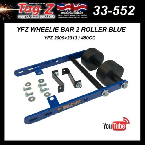 New Tag Z Twin Roller Wheelie Bar 2 YFZ 450 R X 09 10 11 12 13  Blue ATV Catch