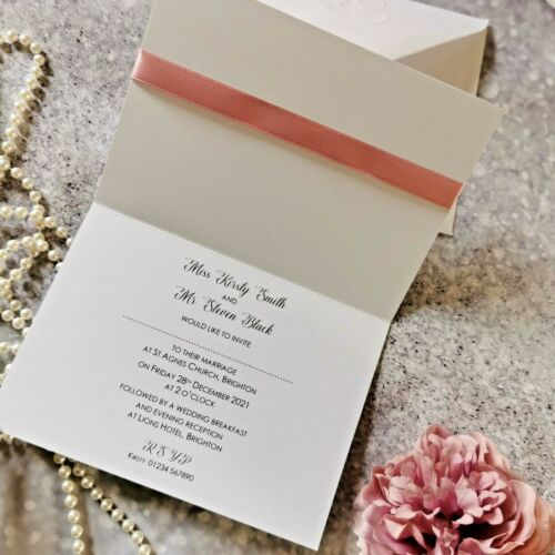 bow ribbon folded modern Wedding or Evening Invitations with glitter
