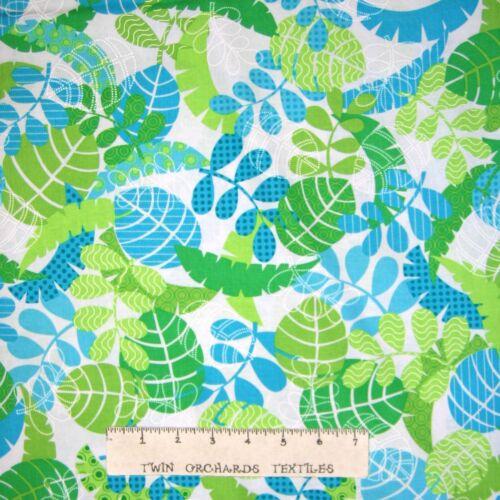 Monkeying Around Tropical Leaf Blue Green Animal Fabric Benartex YARD
